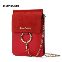 BISON DENIM Brand Leather Bags Round Accessory Vintage Women Shoulder Bags Crossbody Bags For Women Mini Messenger Bag N9333(China)