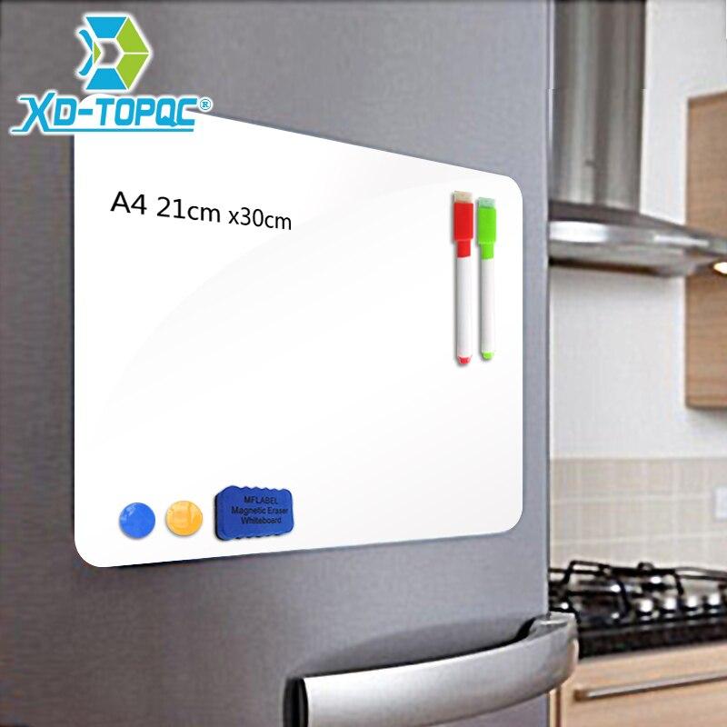 XINDI A4 21*30 cm Weichen Kühlschrank Magneten Flexible Mini Whiteboard PET Film Nachricht Bord Magnetische Notizen Kühlschrank Memo pad FM01