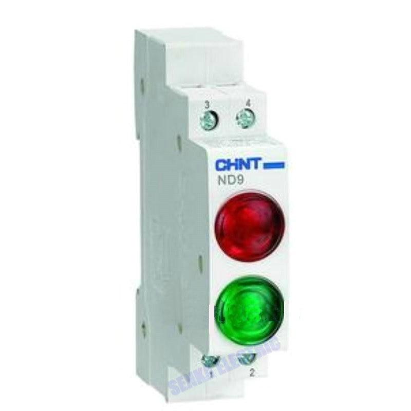 5pcs CHINT  Din Rail Mount LED Signal Lamp ND9 Series AC 220V Indicating Indication Pilot Lights