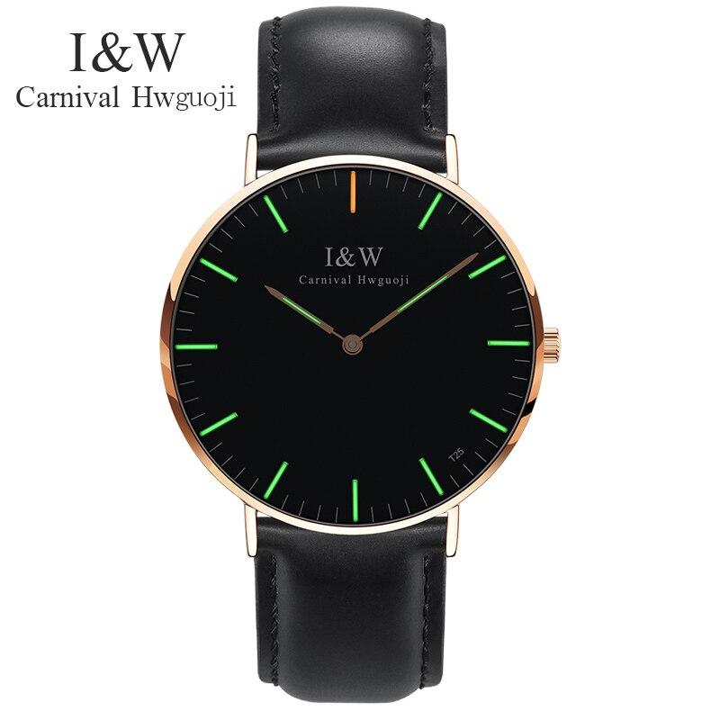 купить Carnival watch men Tritium Light Waterproof Sapphire Stainless Steel Quartz leather Watch relogio masculine недорого