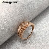 925 Sterling Silver Light Là Một Ring Feather với Rose Finger Ring cho Phụ Nữ Cưới Đích Thực bán buôn Đồ Trang Sức RIP369