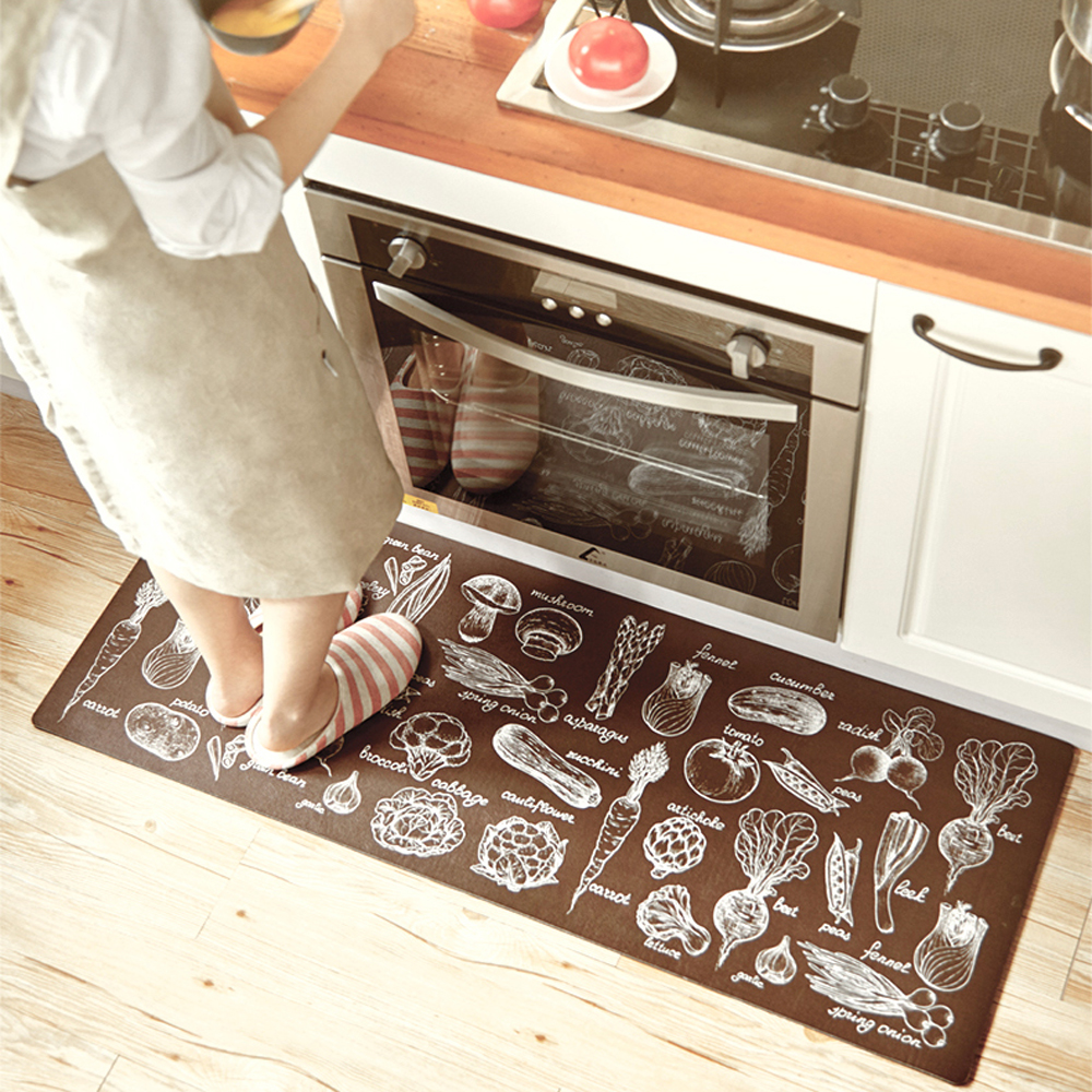 Black White Grid Brown Vegetables 2 Pieces Set Rubber Non Slip Kitchen Rugs Waterproof And Proof