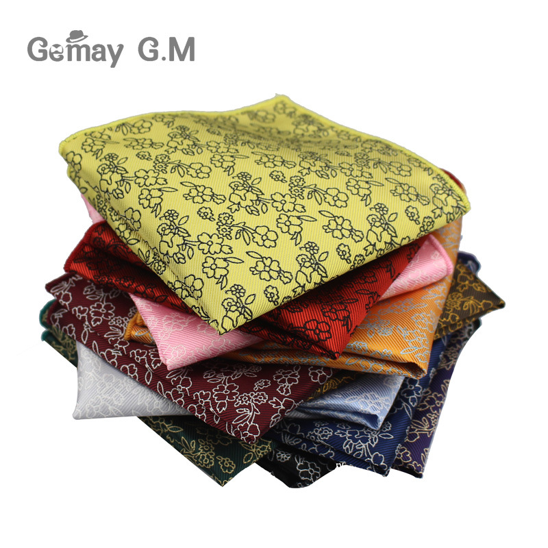 Polyester Woven Handkerchief Mens Business Suit Floral Pocket Square Hankies Classic Design Plaid Pocket Towel Hanky