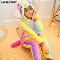 LAISIDANTON Long Sleeve Hooded Rainbow Unicorn Pajamas Adult Animal Unicornio Pijama Halloween Costumes For Women Pyjamas