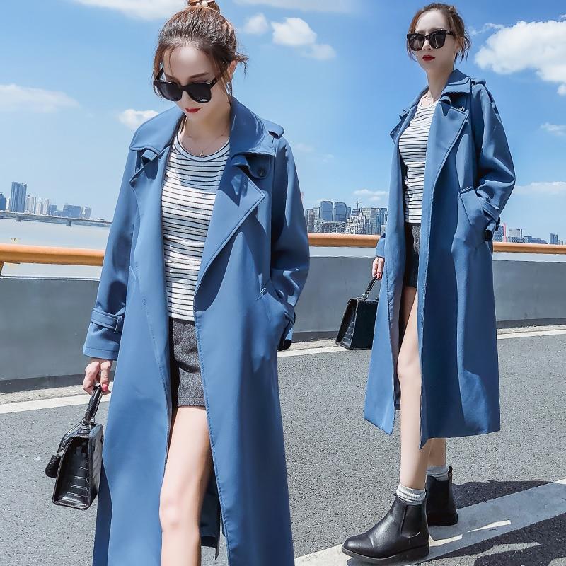 vent Grande Straptrench Blue Version 2018 Femmes Femelle Longue Printemps Mode Z252 Section Automne Nouveau Taille Lâche Coupe Coréenne Manteau Mince BdqwFxpFR
