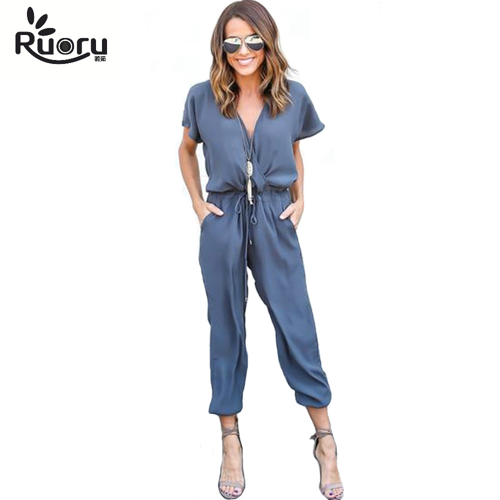 Ruoru sexy V neck tied waist pocket rompers womens   jumpsuit   large size loose summer overalls   jumpsuits   short sleeve playsuit