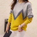 2017 Korean Autumn And Winter Pullover O-neck Long Sleeve Knitted Sweater New Fashion 3 Colors Patchwork Tops Casual Loose 61985