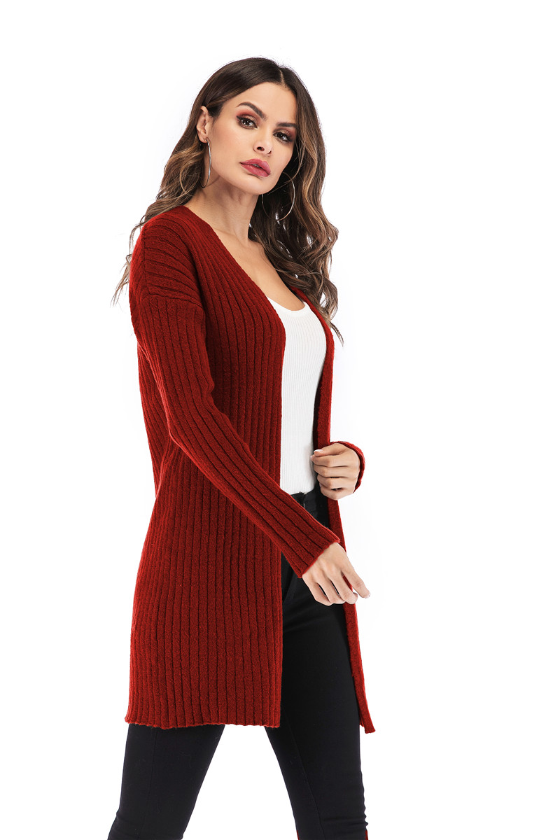 Fall Winter Cute Knitted Middle Long Ribbed Cardigan Dress for Women Kawaii Ladies Knit Drop Shoulder Sweater Coat Oversized S-L 10