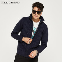 HEE GRAND Men's Sweater New Arrival Autumn And Winter Cardigan Casual Style With Argyle Plus Size M-3XL Size Blue Color MWK126