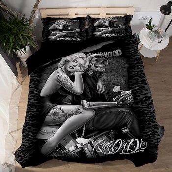Sexy Fashion 3d Marilyn Monroe Bedding sets Duvet Cover Sheet pillowcase 3pcs Twin queen king size home textile Black bedclothes