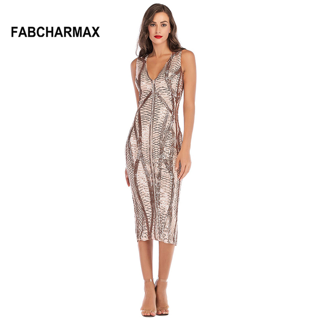 6cf47f0c72b118 v neck sleeveless sequin dress new chic patterns sequined bodycon midi  dresses vestidos women elegant sexy night out club dress