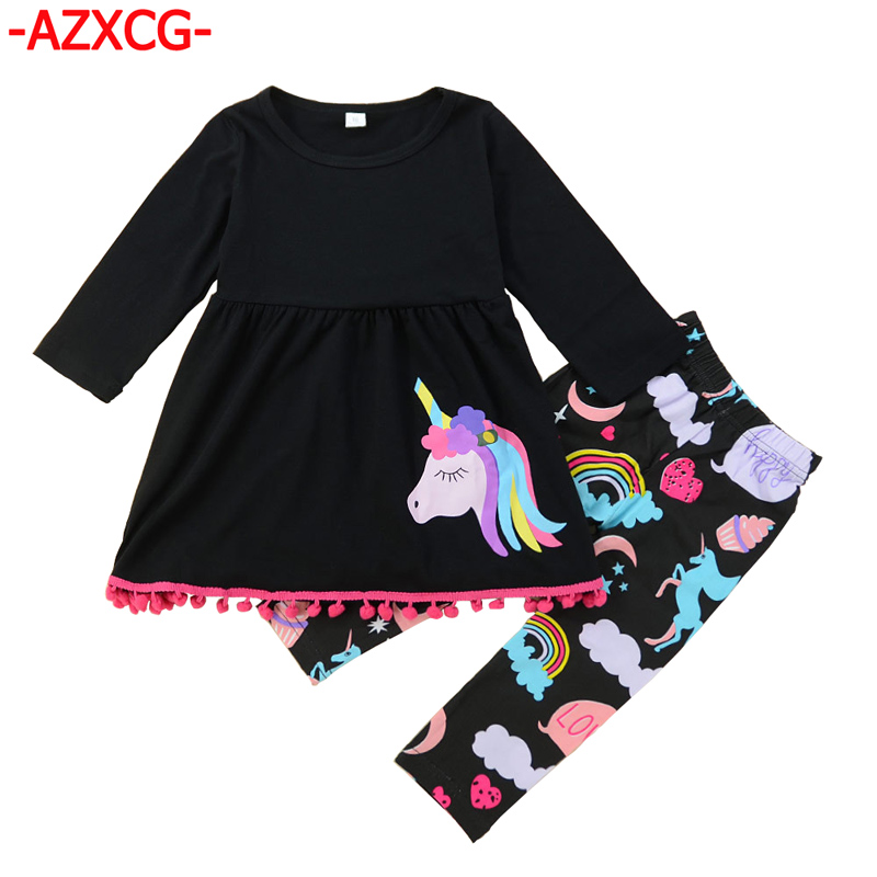 Fashion Girls Clothing Suit Girl's Unicorn Toddler Kids Baby Girls Outfits Clothes Long Sleeve T-shirt Top+ Leggings Suit Set baby girl 1st birthday outfits short sleeve infant clothing sets lace romper dress headband shoe toddler tutu set baby s clothes