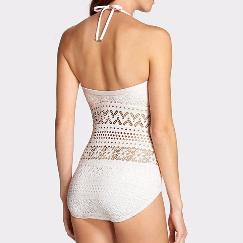 Wade Sea One Piece Swimsuit Plus Size Swimwear Women Sexy Beach Lace Crochet Monokini Swimsuit Retro Bathing Suit Swim Wear plus size scalloped backless one piece swimsuit