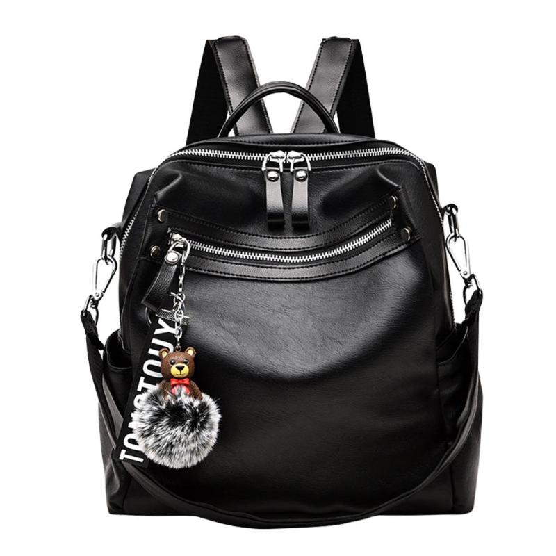 2 Ways Using Classic Bear Hair Ball Decor PU Leather Backpack Travel School Student Women Backpack