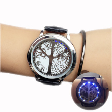 minimalist smart LED watch , leather normal waterproof  , Creative personality Tree women watch electronics casual watches