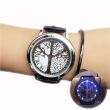 minimalist smart LED watch , leather normal waterproof  , Creative personality Tree women watch electronics casual watches