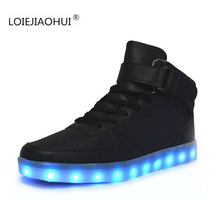 Hot Sell Luminous LED Shoes For Adults 2017 Spring  Autumn Fashion Wamen's Men's High help USB Chaussure Led Light up Shoes