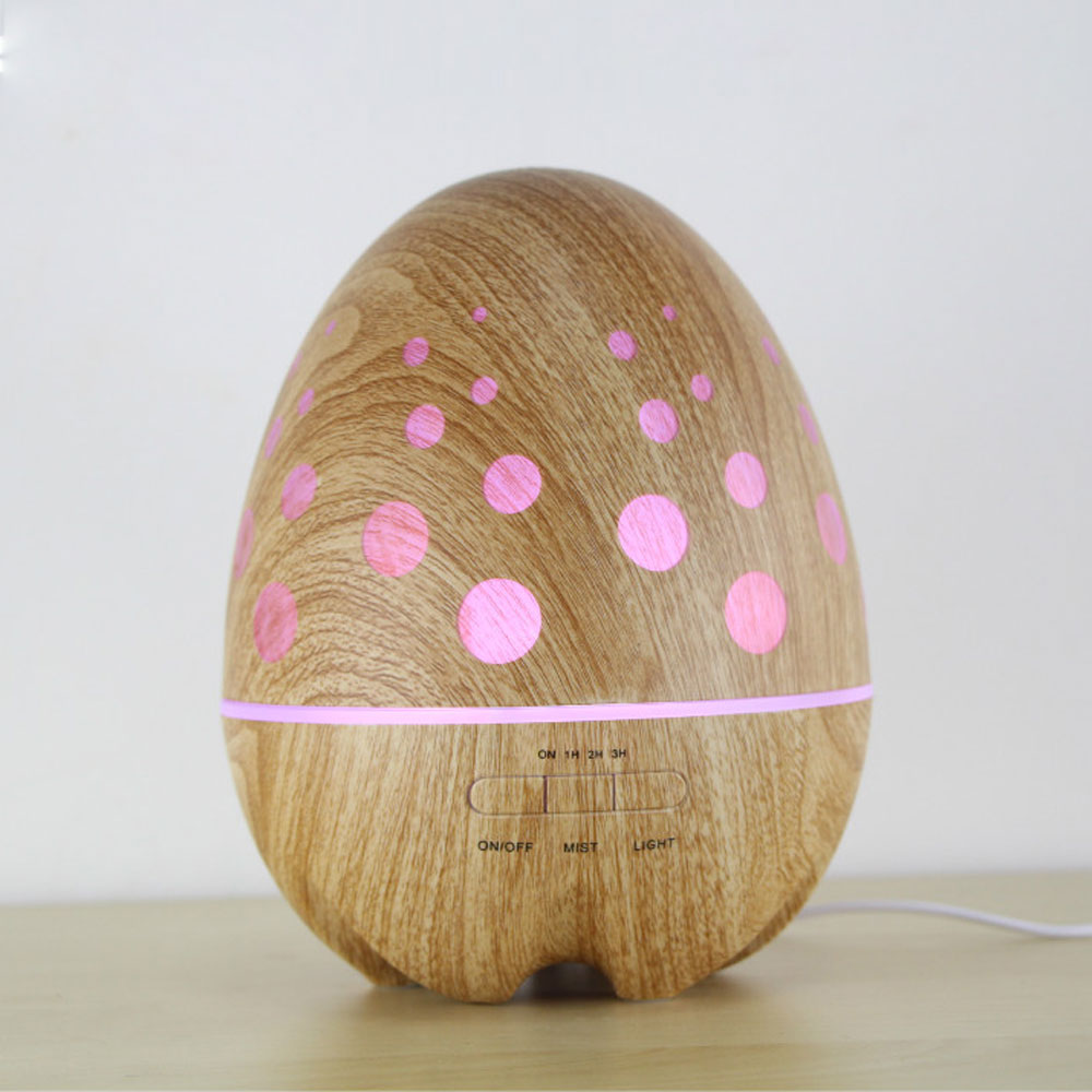 14W 400ML Ultrasonic Air Humidifiers Wood Grain Egg Design Essential Oil Aroma Diffuser Rainbow Light Fragrance Difusor For Home