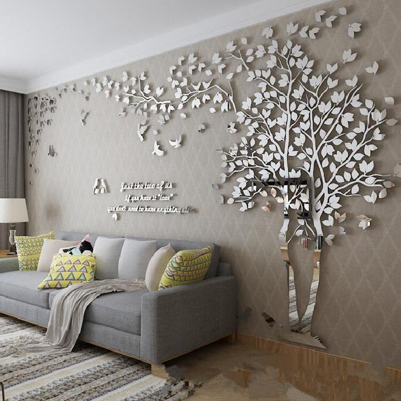 1Pcs 400x200cm 3D Texture Acrylic Tree TV setting Wall Decal Living Room Trees For Walls Stickers Warmth Home decor Wall Decal