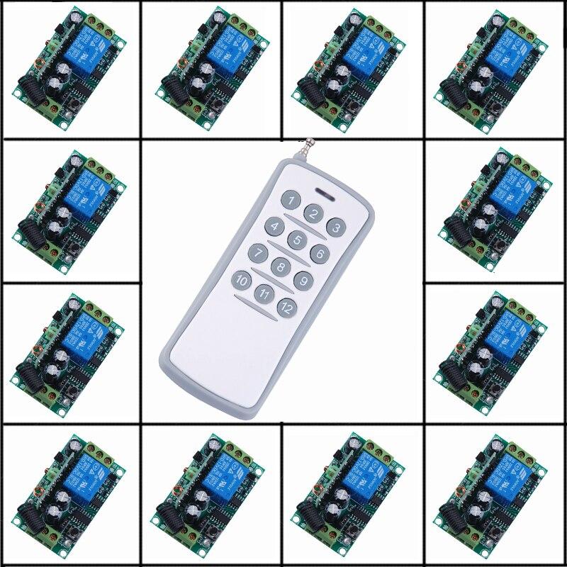 12 V 1CH RF système de commutateur de télécommande sans fil 12 récepteurs + 1 émetteur contrôle indépendant bascule momentanée 315/433 mhz
