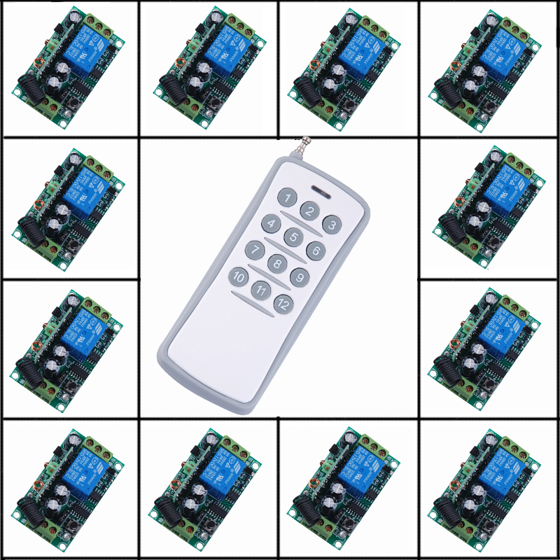 12V 1CH RF Wireless Remote Control Switch System 12 Receivers + 1 Transmitter Independently Control Momentary Toggle 315/433mhz new ac 220v 30a relay 1 ch rf wireless remote control switch system toggle momentary latched 315 433mhz