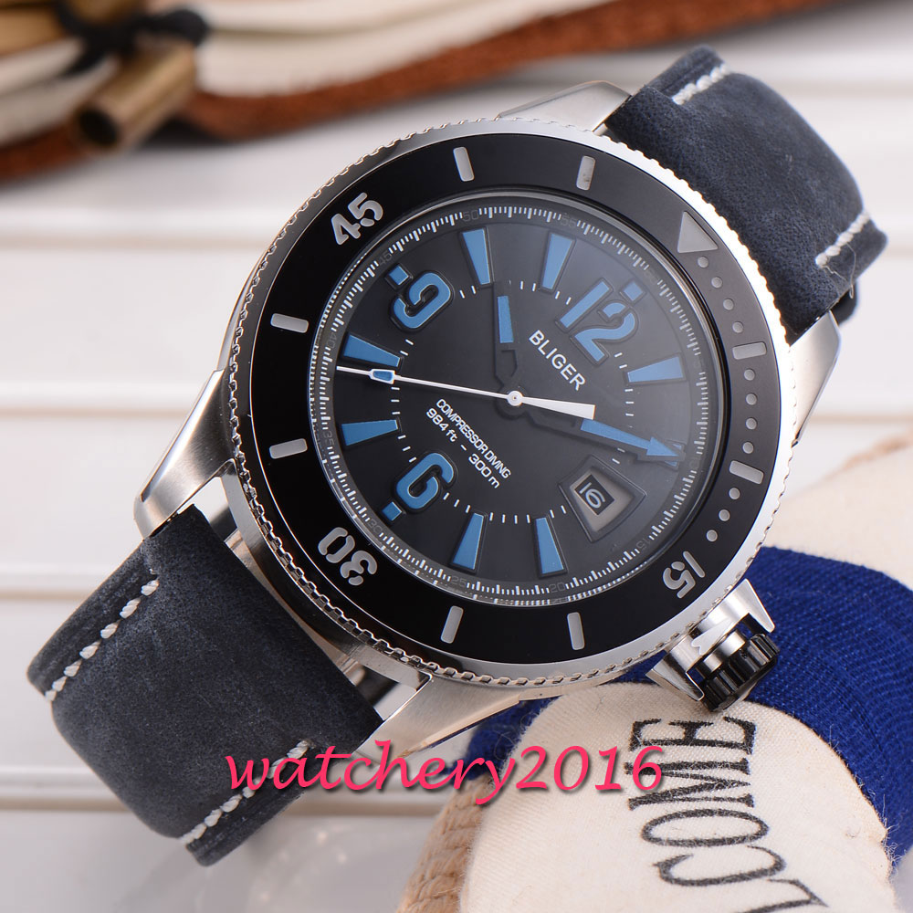 43mm Bliger black dial date mens watches of the famous luxury brand miyota Automatic Self-Wind movement Men's Wristwatch ks luxury automatic self wind date day 24 hours black 3 dial steel strap mechanical wrist watches mens gents timepieces ks307