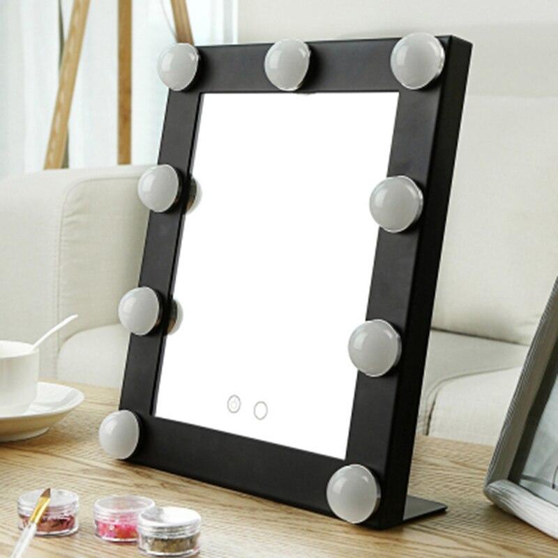 Edelstahl Gerahmte Spiegel Mode Frauen Damen Make-up-spiegel Kosmetik Spiegel Mit 9 Birne Lichter Make-up Werkzeug Nizza Geschenk Offensichtlicher Effekt Spiegel