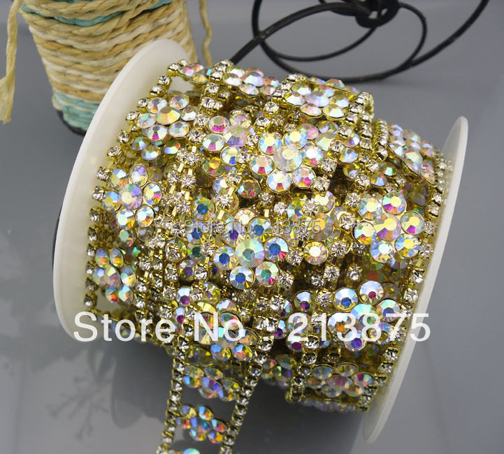Applique 4mm clear AB glass crystal decoration compact silver claw chain 1 yard