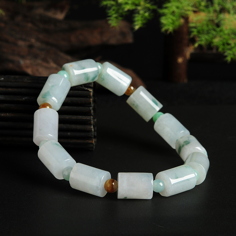 White Bottom tube beads yu bracelet men and women a goods yu bracelet genuine Natural Bracelet/ charming glaze tube shape bracelet for men