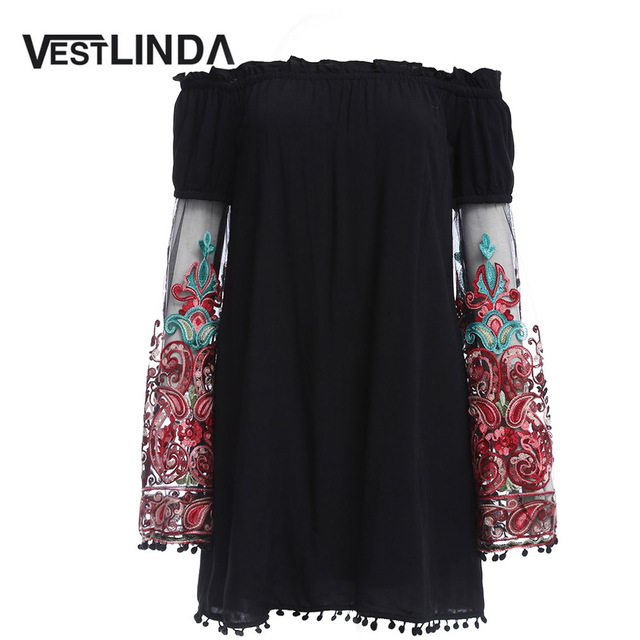 ba9e43a4403 VESTLINDA Summer Dress Women Casual Dress Slash Neck Off Shoulder  Embroidery Flare Sleeve Tassel Hem Loose Vestidos Mini Dress