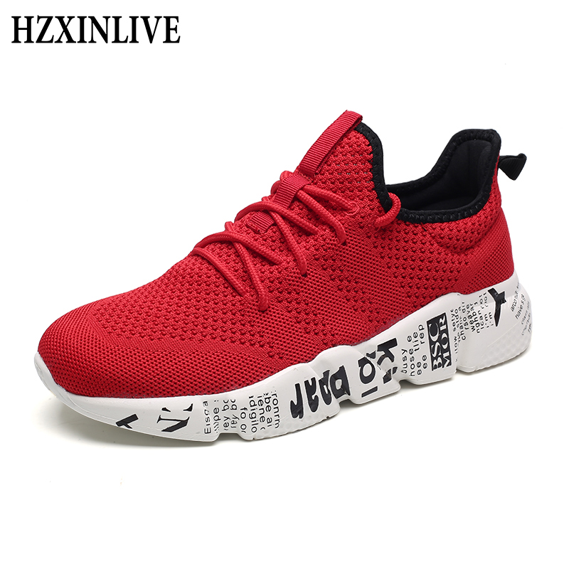HZXINLIVE 2019 Shoes Woman Sneakers Fashion Flying and Weaving Breathable Mesh Platform Sneakers Plus Size Men Zapatos De Mujer(China)
