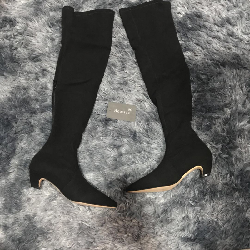 dbba139675 Boussac Kitten Heel Over The Knee High Women Boots Faux Suede Stretch Slim  Boots Pointed Toe High boots Shoes Woman SWE0155-in Over-the-Knee Boots  from ...