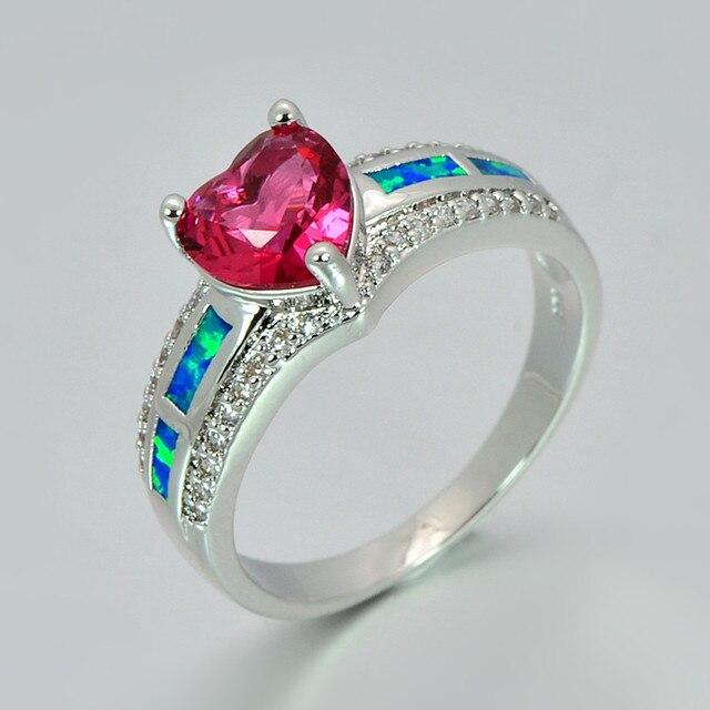 f561d24011837 US $6.7 39% OFF|Red Heart Zircon Blue Fire Opal Heart Ring Fashion Silver  Jewelry Vintage Wedding Rings For Women RJL17100701-in Rings from Jewelry &  ...