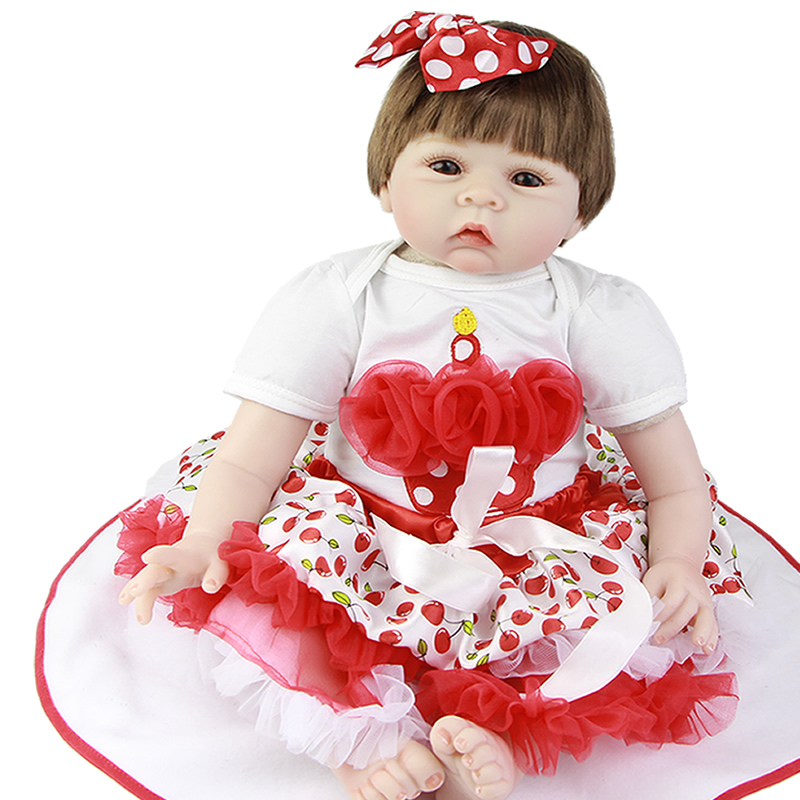 22'' Realistic Reborn Baby Dolls with Pacifier Cloth Body Soft Silicone Dolls Girl Baby Born Dressed Cherry Skirt Free Shipping new lifelike soft cloth full body painting silicone born baby dolls girl realistic solid original reborn dolls for sale shop
