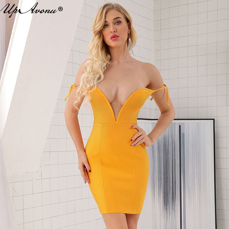 Summer new sexy deep V neck bandage dress orange sleeveless strapless women's spaghetti dress club party Bodycon Vestidos