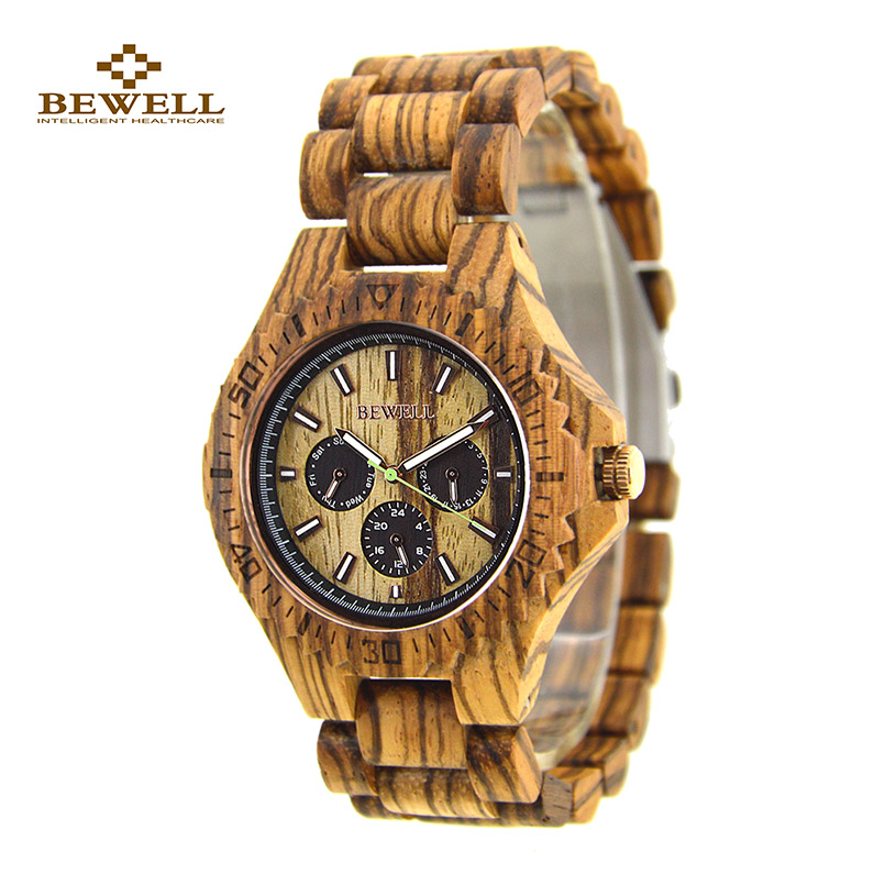 лучшая цена Wood Watch with Wooden Strap Simple BEWELL Wood Wristwatches for Sale Fashion Men Watches Zebra Band Christmas Gift Friend 116B
