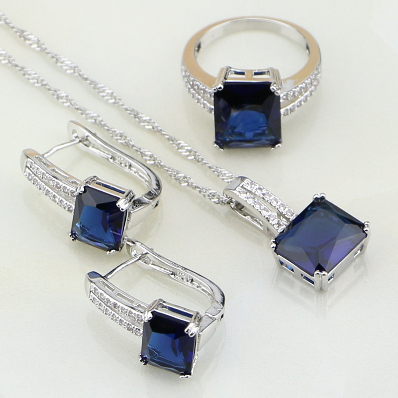 Blue Rhinestone White CZ Costume Jewelry 925 Sterling Silver Bridal Jewelry Sets For Women Wedding Earring/Pendant/Necklace/Ring