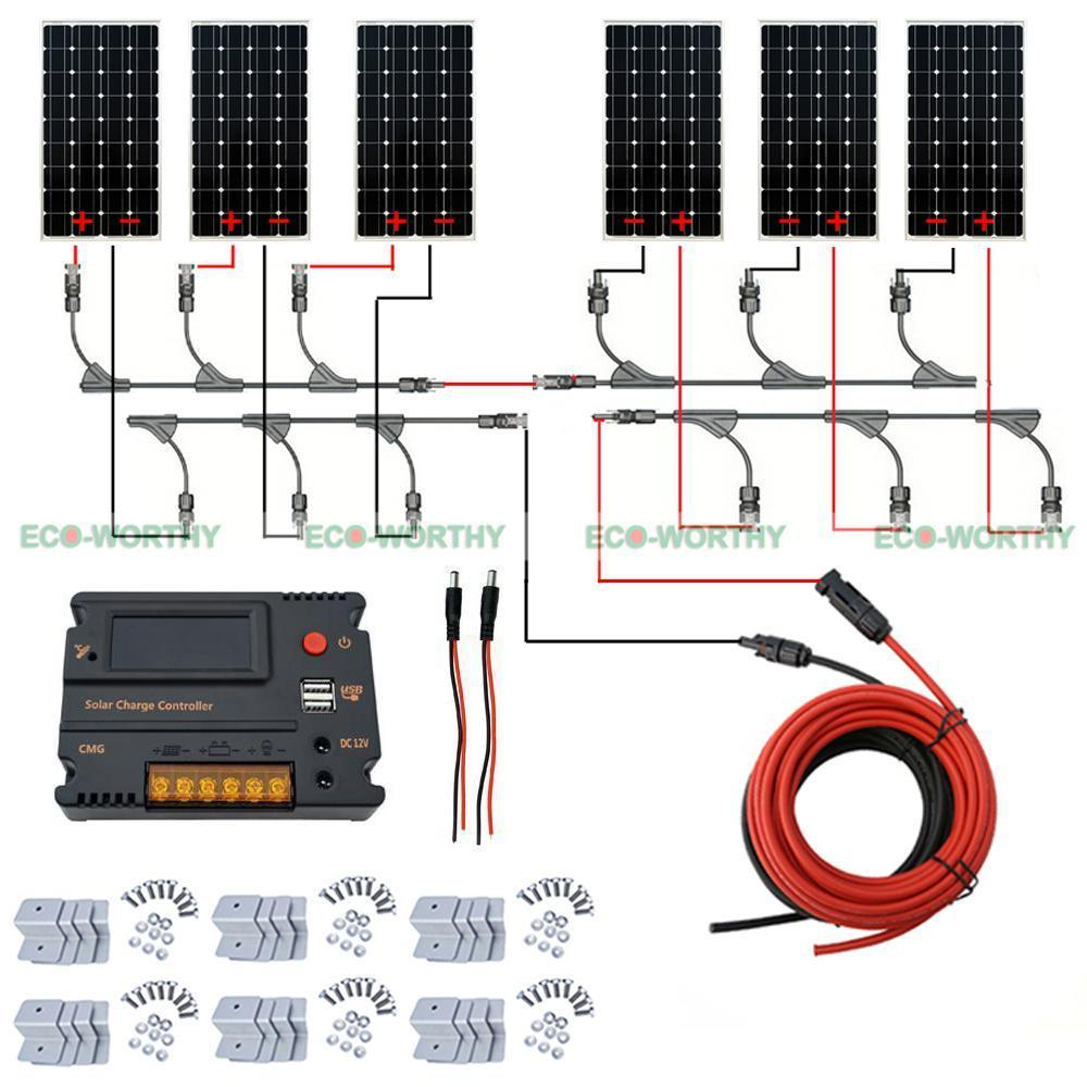 24V 600W Off Grid Solar System Kit 6X100W Mono Solar Panel With 20A Controller For Home au eu usa stock complete kit 600w solar panel cells off grid system 600w solar system for home free shipping
