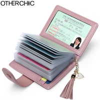 OTHERCHIC Card Holder Cow Leather Wallet Women Wallets Fashion Credit Card ID Holder Zipper 17Y04 50