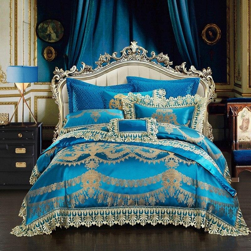 Bleu Royal de Luxe Ensemble De Literie Roi/Reine Taille ensemble de Lit En Satin De Soie Dentelle Housse de couette Lit ensemble de draps taies d'oreiller juego de cama