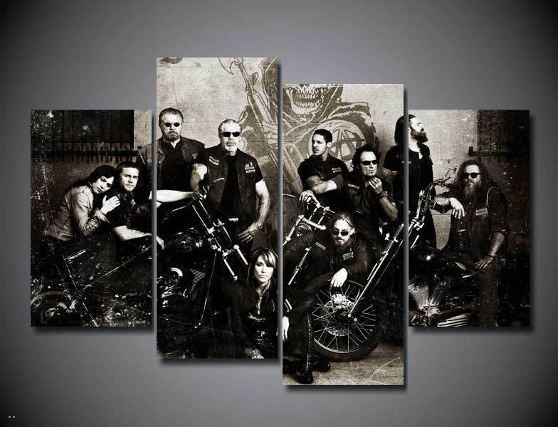 Framed)5 Pieces The Sons Of Anarchy Modern Home Wall Decor Canvas Picture Art Hd Print Painting On Canvas For Living Room