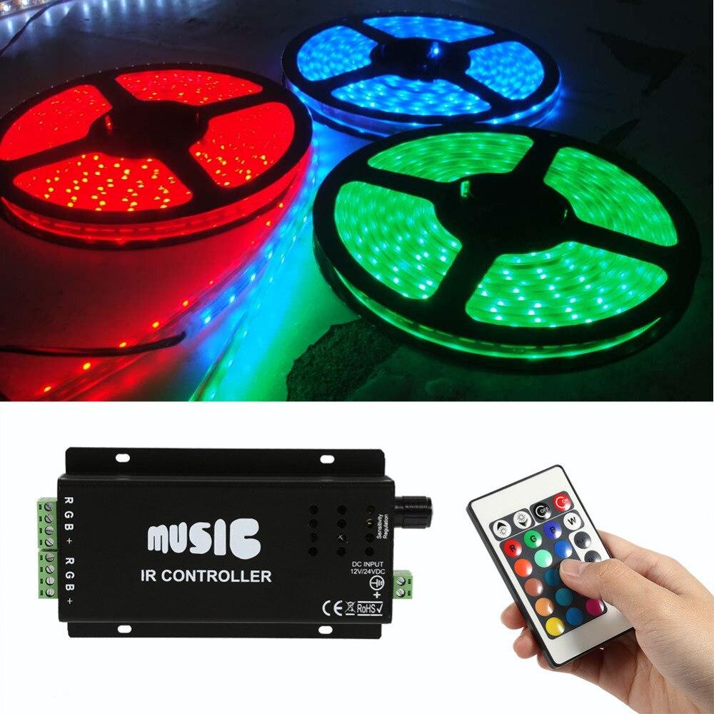 Dmx Controller IR LED Controller Sound Sensitive for Music RGB Controller Strip Lights DC12V-24V with 24 Keys Remote