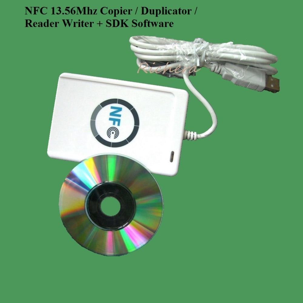 USB NFC ACR122U 13.56 Mhz RFID sans contact copieur de carte à puce lecteur graveur + SDK m-ifare copie Clone Support Android