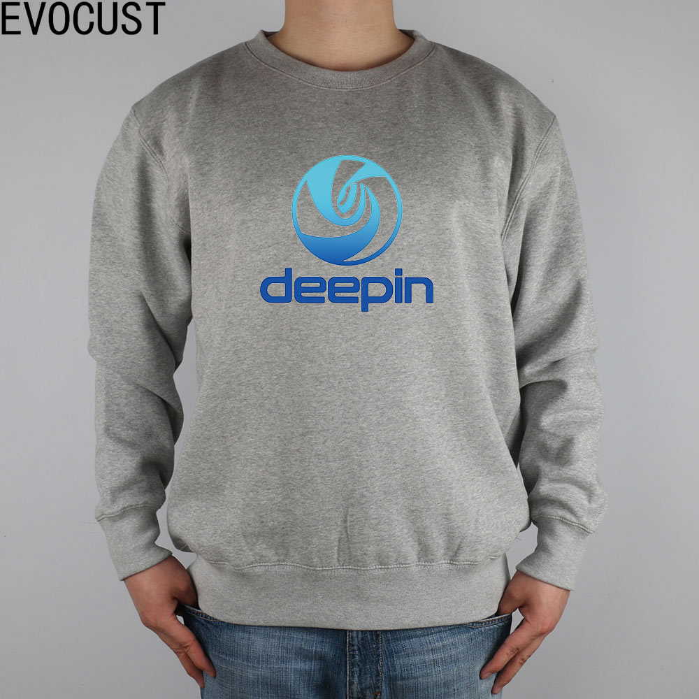 Deepin linux men Sweatshirts Thick Combed Cotton