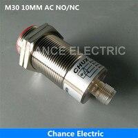 M30 10mm Mesafe NO/NC/NO + NC Kablo Anahtarı Olmadan Yarım Setleri Bağlayıcı Endüktif Proximity Sensör AC