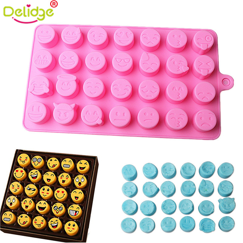 Delidge 1 Pc 28 Holes Qq Expression Chocolate Molds Silicone Cute Lovely Emoji Expression Fondant Chocolate Molds Diy Baking A Complete Range Of Specifications Bakeware Home & Garden
