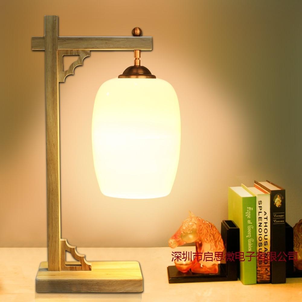 Modern Oak Wood Table Lamp E27 AC110V-240V US Plug Ceramic Table Lamp  Bedroom Bedside Lamp Indoor Living Room Bedroom Lamp