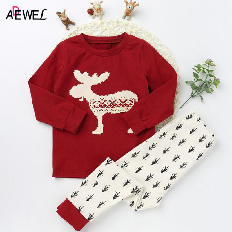 ADEWEL Children's Pajama Sets Christmas Reindeer Pattern 2018 Autumn Girls Boys Long Sleeve Shirt Pants Pajamas Suits for Kids neo 6m ublox u blox gps module for mwc apm