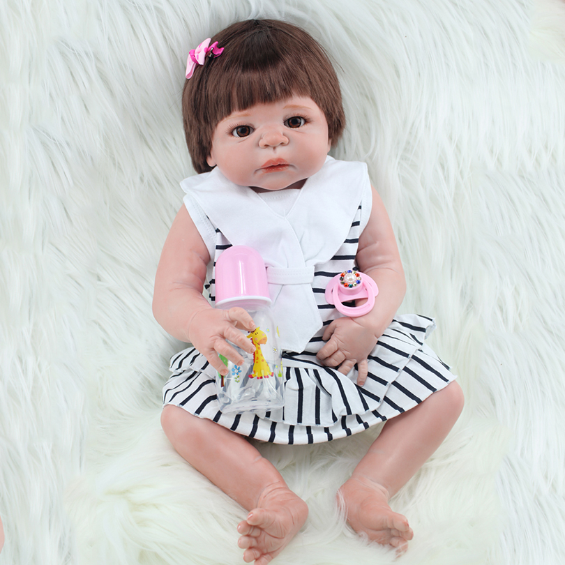55cm Full Silicone Reborn Baby Dolls Toy Newborn Princess Babies Alive Victoria Doll Girl Bonecas Child Gift Play House Toy 40cm silicone reborn baby doll toy 16inch newborn princess girls babies dolls birthday xmas gift girls bonecas play house toy
