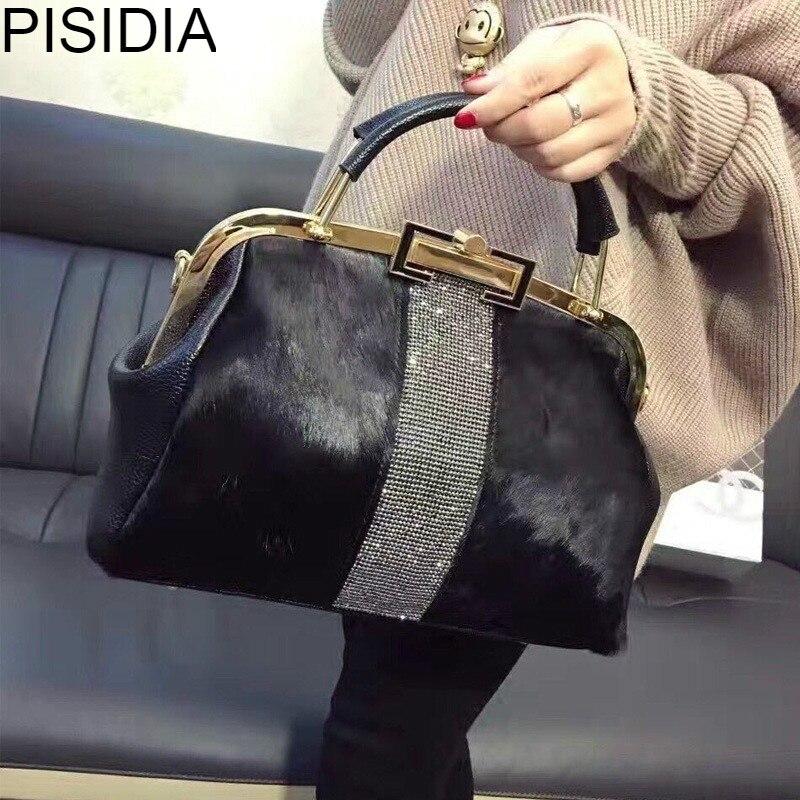 Hiver chaud cheval cheveux femme Messenger fourrure sac en cuir fourre-tout gland strass métal cadre Boston sac bandoulière sac à main